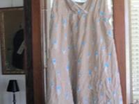 FP (Free People) sundress, khaki with blue flowers,