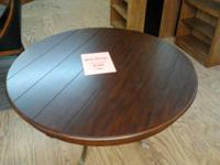 "New Fraenkel 52"" round table with cherry wood top, and"