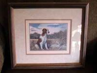 A beautiful framed wood with glass, and matted, print