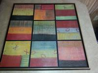 Framed Bold Block Abstract Print Measures 32 x 40 Only