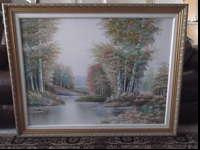 Hand painted landscape art professionally framed. Gold
