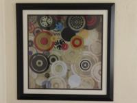 This is a print of modern art by Bridges. Frame is