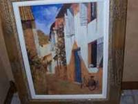 Framed Oil Painting Bicycle in Alley Goldish Wooden