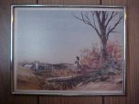 "Framed print Farm scene w/turkey 11"" x 14"" great"