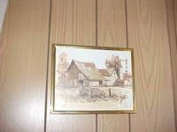 "Framed Print old barn w/wagon 8"" x 10"" great addition"