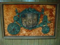 Unique framed coach wall hanging made of metal and wood