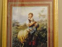 Burgundy matted girl with sheep picture (31 1/2in x 25