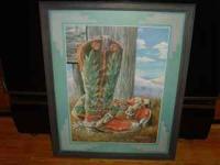Nice framed western-signed print: Artist H.W.