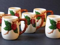 Rare set of 6 Franciscan Apple grandmugs in the