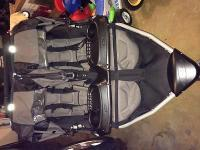 Black and grey Bob duallie jogging stroller prepared