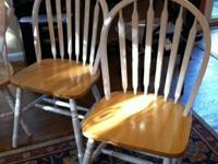 6 free kitchen chairs.  White and natural wood.  Some