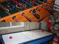 "Free 44"" x 84"" working air hockey table at the end of"
