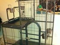DELUXE HEAVY BAR CAGE WITH PLAY TOP..AVAILABLE IN BLACK