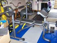 NEW GOLDS GYM FREE WEIGHTS AND BENCH,ONLY USED A COUPLE