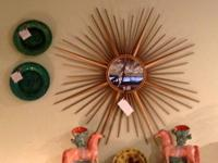 French 1950's Metal Starburst Mirror Mid Century Mirror