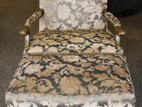 French Bergere style chair and matching ottoman with