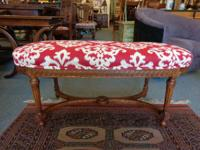 French Carved Walnut Bench Louis XVI.  Measurements:
