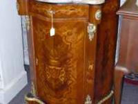Beautiful French Commode Table has marble top, inlay
