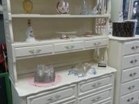 6 drawer French dresser with hutch. The top has a light
