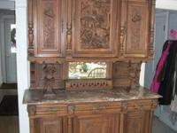 Very unique, gorgeous walnut & oak sideboard/buffet. It