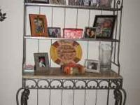 French Marble and Rod Iron Baker's Rack. 3 tier shelves