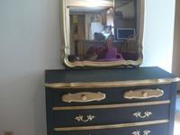 Antique French Provincial Bedroom Dresser with Mirror.