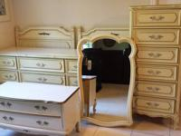 French Provincial style bedroom set. Triple dresser and