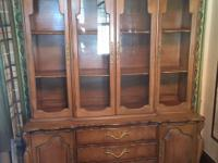 French Provincial large Solid China Cabinet 76x58x18