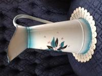 "Vintage French enamel water pitcher. 19-1/4"" tall. Base"