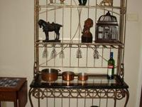 French Wrought Iron Baker's Rack with Glass Shelves,
