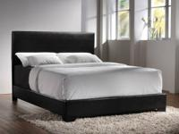 Bonded leather queen bedframes offered in brownish or
