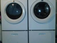 White Frigidare Front Loading Electric Washer and Dryer