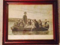 """From Shore To Shore"" Set in original walnut frame and"