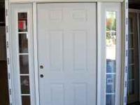 Door is six panel steel. sidelites are 12 inch wide