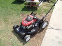 trimmer front throw lawnmower cuts and runs great !