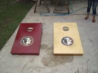 Two FSU Cornhole Game Boards, Handmade solid wood with