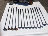 Full 14-piece used Golf Club set with hand cart,