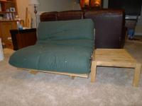 Full Extra Long Futon Frame with mattress and side