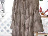 FOR SALE: REAL FUR GRAY FULL LENGTH COAT ABOUT A SIZE