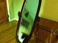 round wood full length mirror for sale, i no longer