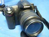 Nikon D50 DSLR camera with 18-55mm lens, 55-200mm zoom