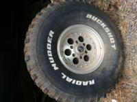 FULL SET OF BUCKSHOT RADIAL MUDDERS TIRES WITH 15 IN