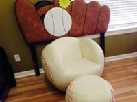 Full Size Baseball Headboard & Baseball Chair & Ottoman