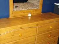 Pine color full size bedroom set with mattress. Only