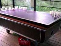 Full size pool table, slate, previously bar table with