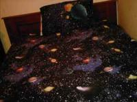 galaxy space full size comforter, 2 matching shams, 2