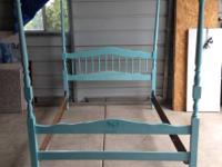 $150. Tiffany Blue Bed Full Size with metal slat rails.