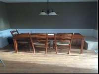 Wood Dining Room Table. 7 chairs that match. Can