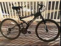 Hyper full suspension mountain bicycle. This has