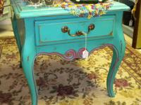 Chic Shabby End Table All wood Painted teal with hot
